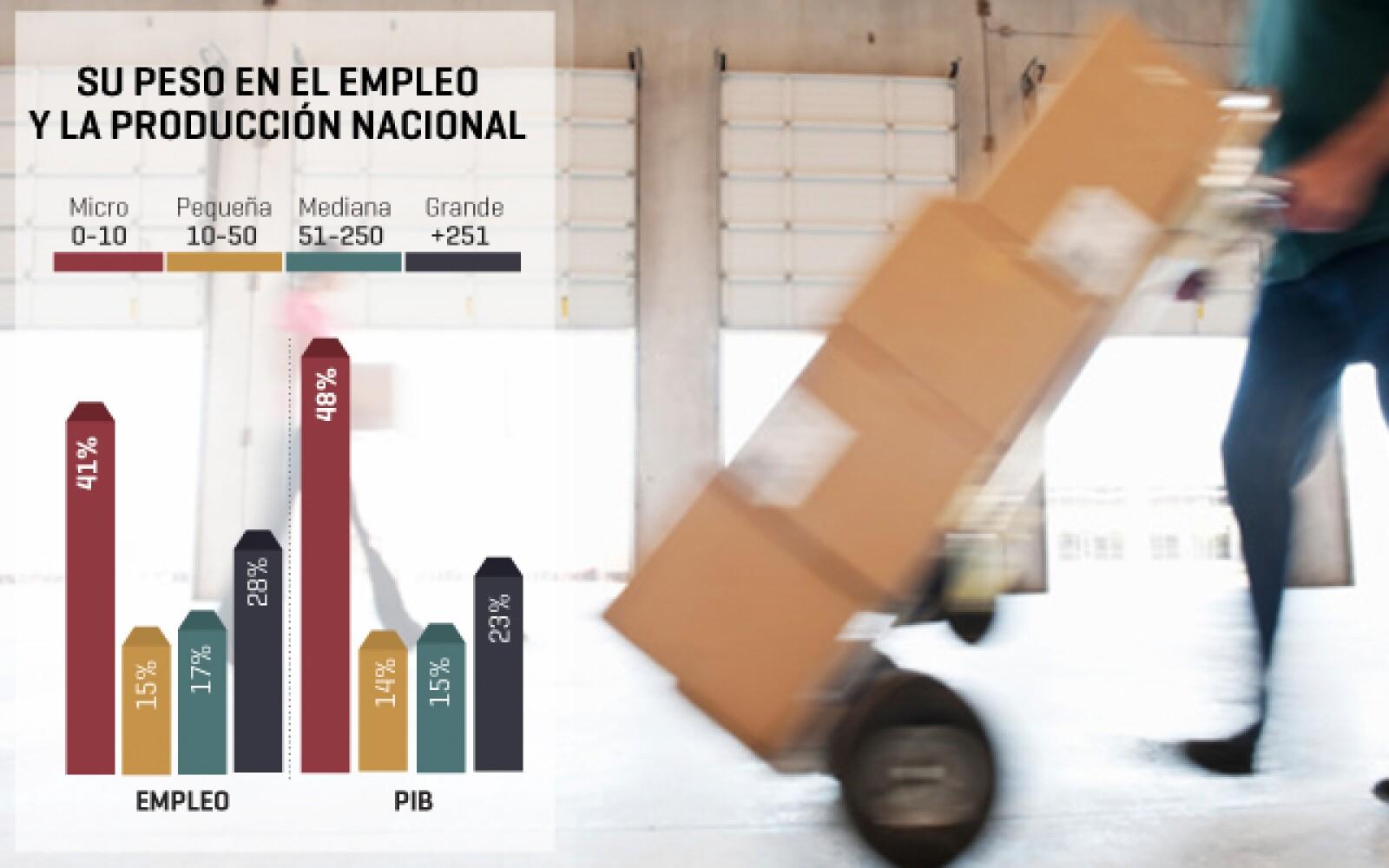 La aportación al empleo de las micro empresas en México constituye un 41%, mientras que al Producto Interno Bruto (PIB) apoyan en un 48%; esto en comparación con las grandes compañías, que aportan en un 28 y 23% respectivamente.