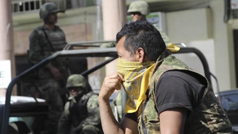 Un rondín de vigilancia del Ejército mexicano en Los Reyes, Michoacán