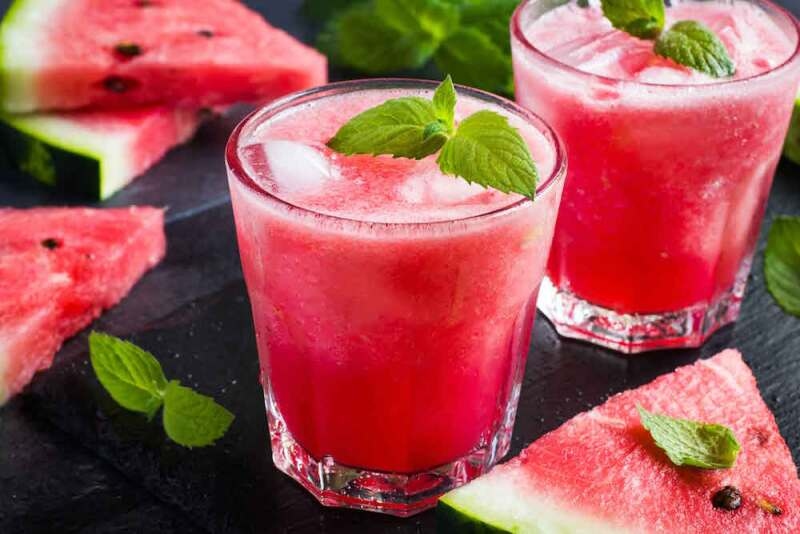 refreshing watermelon cocktail with ice and mint