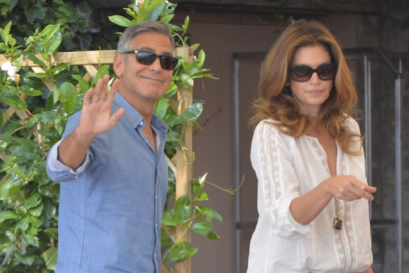 George recibió a Cindy Crawford en el hotel Cipriani.