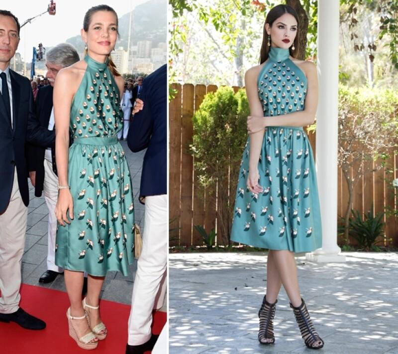 Carlota llevó el vestido a la inauguración de un club de yates durante el verano, mientras que Eiza lo lució en una elegante sesión de fotos este mes.