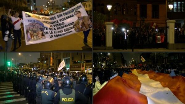 Miles de peruanos marchan a favor de la disolución del Congreso