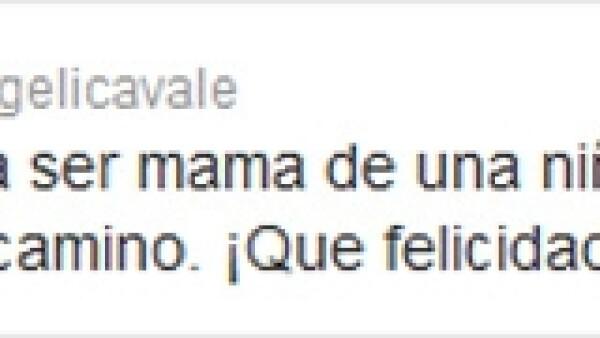 La actriz y cantante mexicana confirmó vía Twitter que tendrá una niña, noticia que le dio gran felicidad.