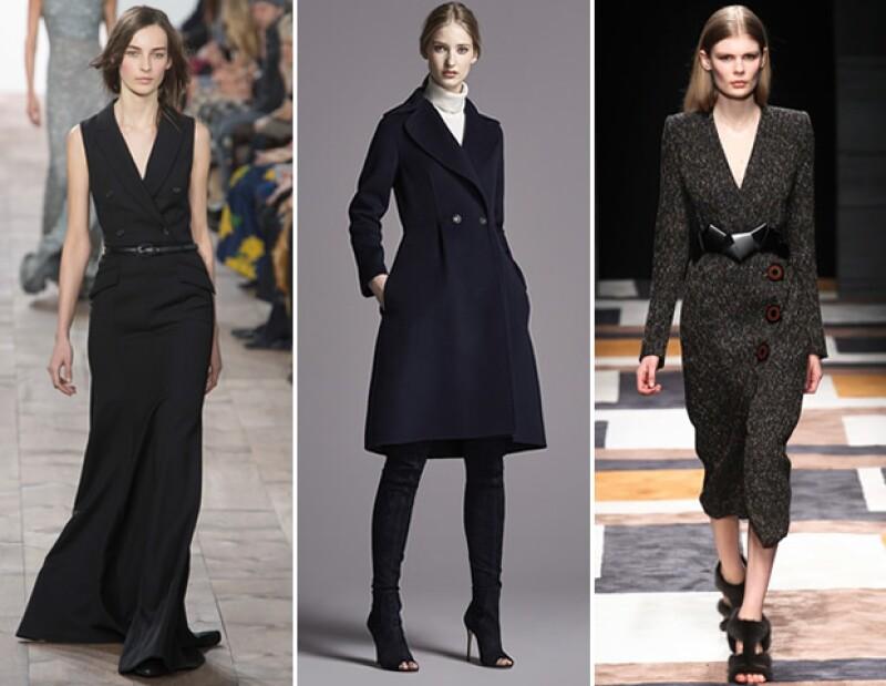 Muchas pasarelas implementaron vestidos con construcciones similares a la de los blazers. Algunos ejemplos se vieron en Michael Kors, CH Carolina Herrera y Salvatore Ferragamo.