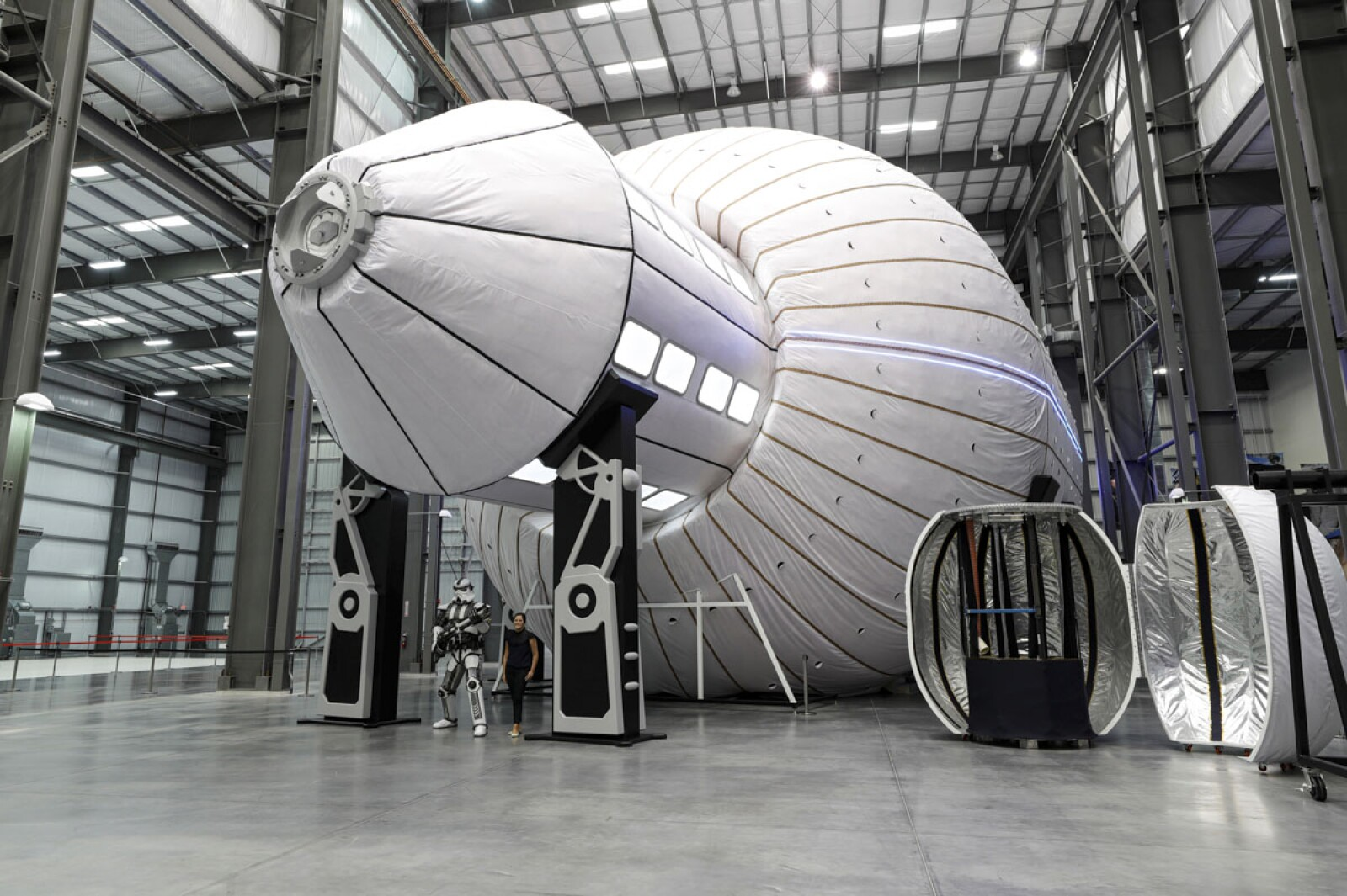 Olympus, a conceptual design for a large space station with 2,250 cubic meters of volume, is displayed during a tour of Bigelow Aerospace in North Las Vegas