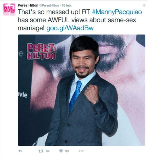 El famoso bloguer, Perez Hilton, fue uno de los primeros en criticar las declaraciones de Manny.