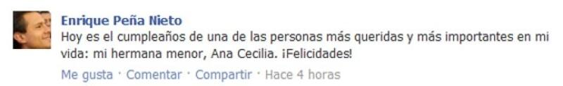 El ex gobernador del estado de México utilizó su cuenta de Facebook para enviarle una felicitación a su hermana menor.
