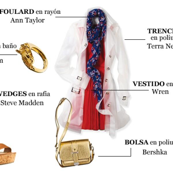 Nada más clásico que un abrigo trench para esos días de lluvia.  Pero busca uno como éste que es transparente para lucir tu vestido y el foulard al mismo tiempo. Dale un toque primaveral al conjunto y utiliza colores alegres en los accesorios.