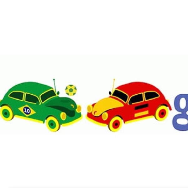 Para la semifinal entre Brasil y Alemania, Google utilizó puso a dos bochos con las banderas de los sudamericanos y teutones a dominar un balón