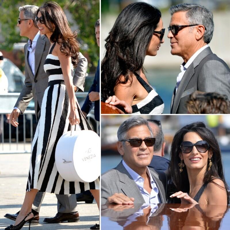 George y Amal se hicieron presentes el viernes en Venecia.