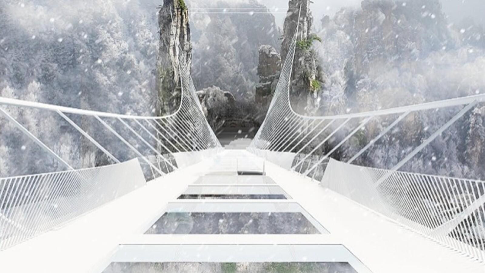 Puente piso cristal Zhangjiajie boceto