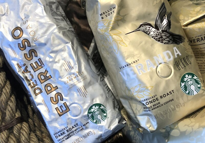 FILE PHOTO: Packages of Starbucks coffee for sale are seen displayed at a Starbucks coffee shop in New York City