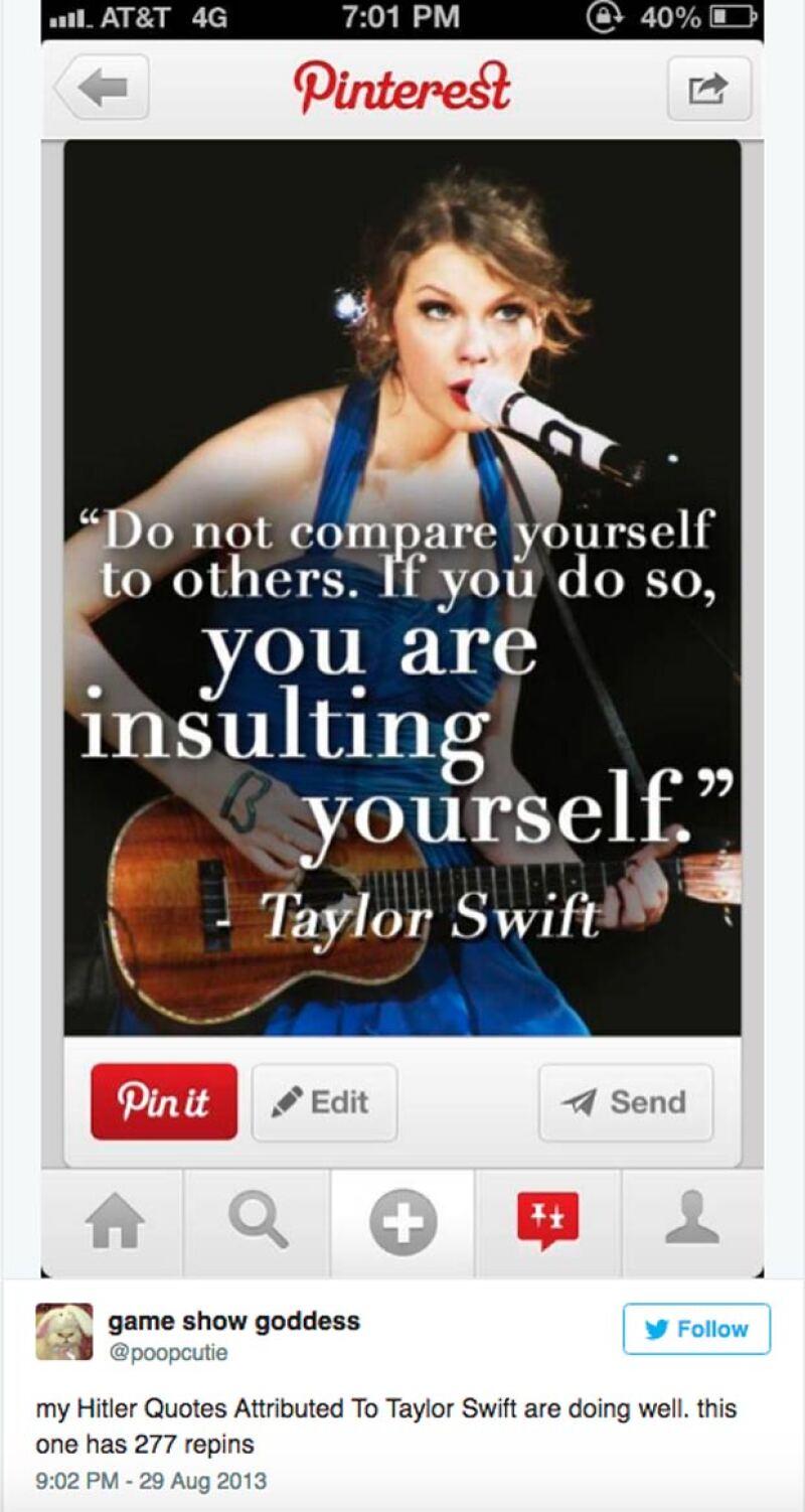 El éxito de Taylor como ícono nazi no ha sido solo en FB, sino también en Pinterest.