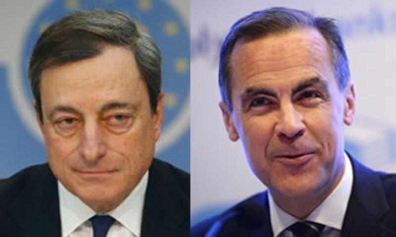 Mario Draghi (izq) evitó hacer celebraciones prematuras, mientras que Mark Carney (der) podría bajar el umbral de desempleo en Inglaterra. (Foto: Getty Images)