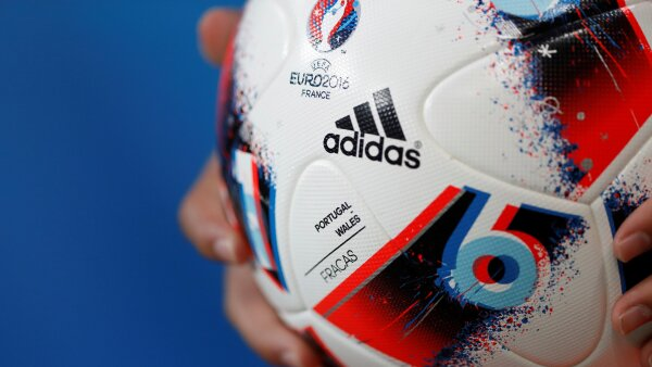 FILE PHOTO: Adidas logo on a football at Euro 2016 semi final in Lyon, France