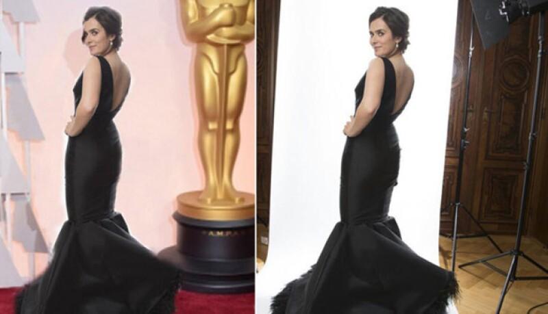 Anna creó en photoshop una foto como si hubiera estado en la alfombra roja de los premios Oscar de este año.