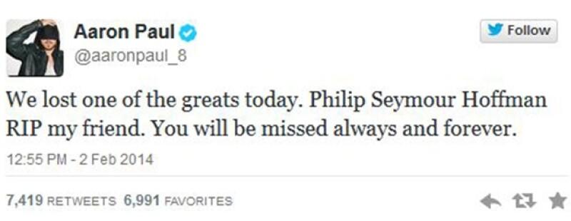 """Aaron Paul de Breaking Bad expresó su sentir: """"Perdimos a uno de los grandes hoy, Philip Seymour Hoffman, RIP amigo mío, se te extrañará por siempre""""."""