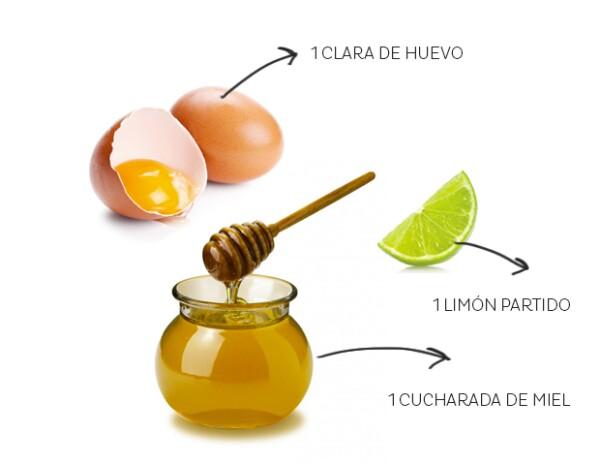 Usarás una clara de huevo, un limón exprimido y una cucharada de miel de abeja.