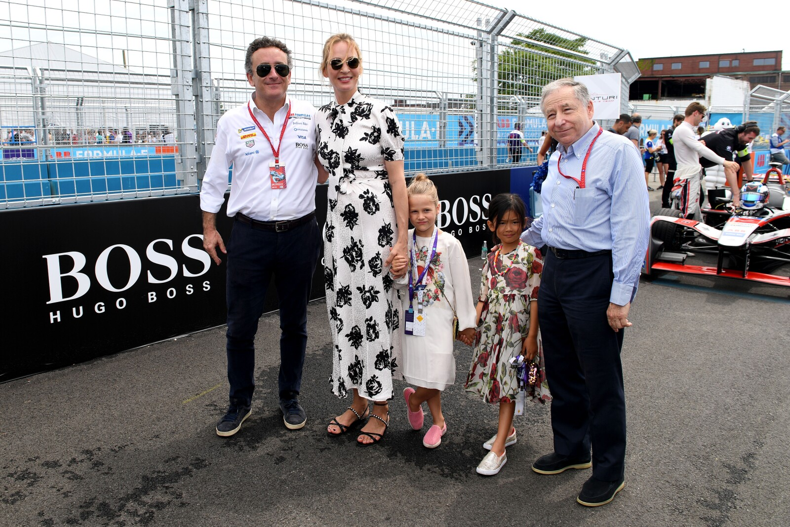Alejandro Agag (Presidente Formula E), Uma Thurman y Jeand Todt (Presidente FIA) New York City E Prix 2018.jpg