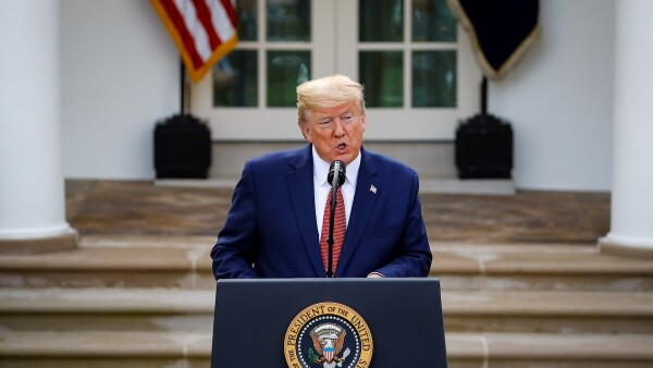 U.S. President Donald Trump speaks during a news conference in the Rose Garden of the White House