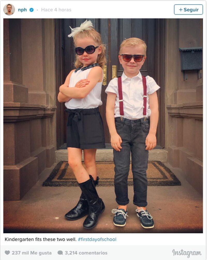 Los hijos de Neil Patrick Harris iniciaron su primer día de escuela.