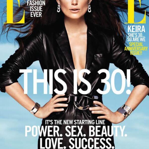 ELLE US: Keira Knightley luce espectacular con un saco de piel de Ralph Lauren Collection y joyas de Pomellato.