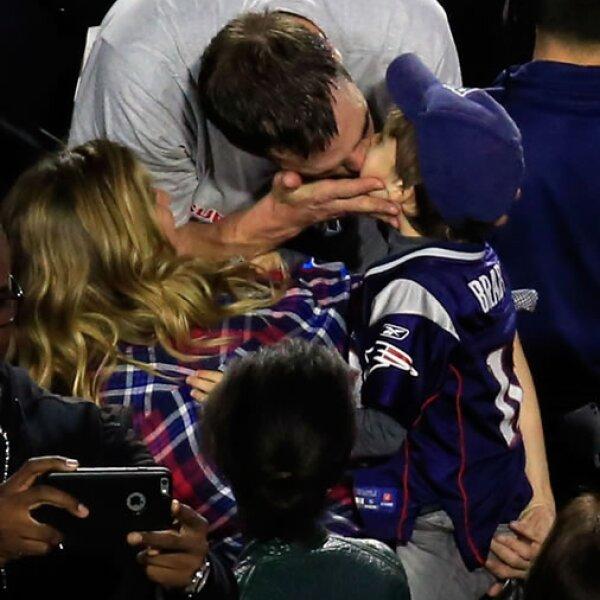 Gisele Bündchen y Tom Brady festejaron en familia el triunfo de los Patriotas de Nueva Inglaterra.