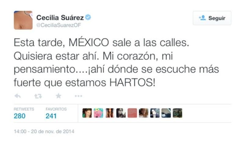 Cecilia Suárez se muestra harta y manda su apoyo a los manifestantes.