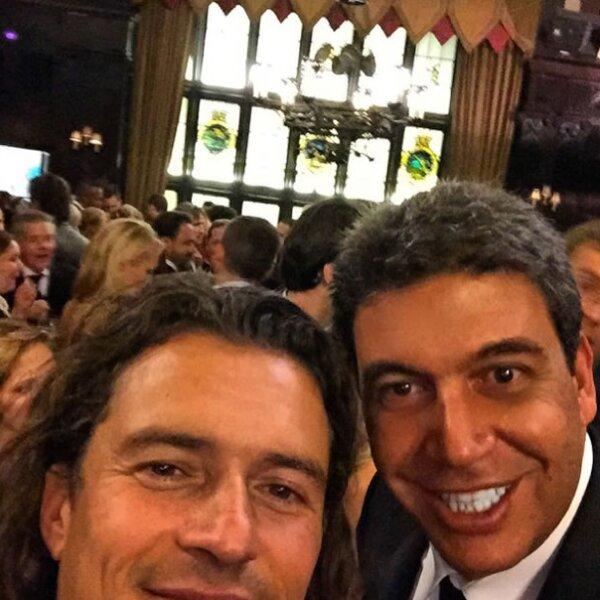 Con el actor Orlando Bloom.