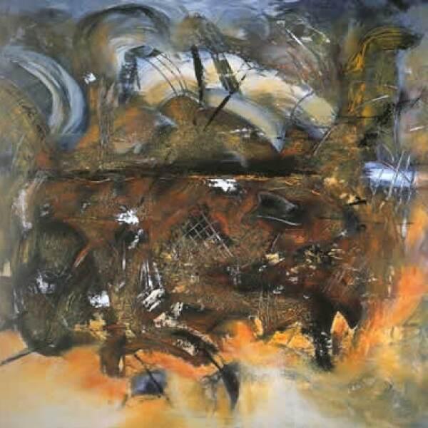 """En su libro agradece a los pintores Manuel Felguérez, Sergio Hernández, Ismael Ramos e Isaac Masri. """"Teapot"""", 2004, acrílico sobre tela, 1.40 x 1.80 m"""