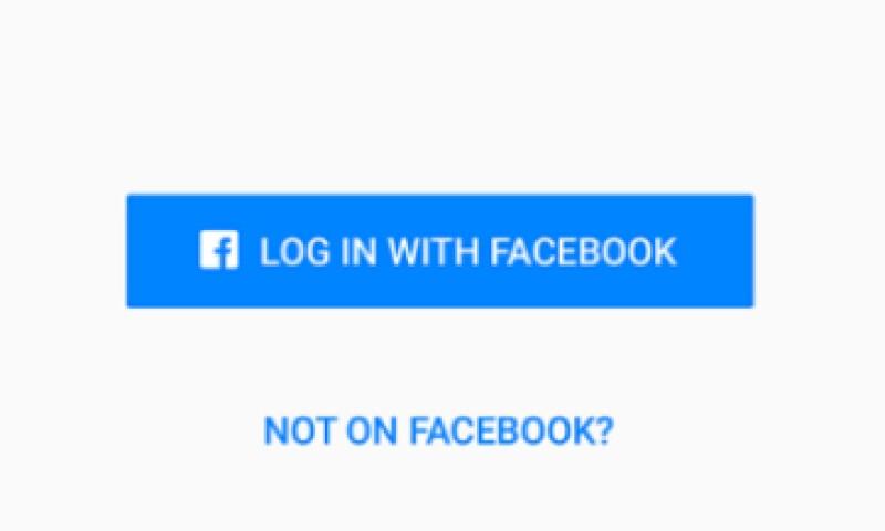 Al abrir la app los usuarios verán la pregunta: ¿No estás en Facebook? (Foto: Facebook/Cortesía)
