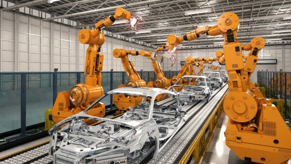 robot assembly line in car factory