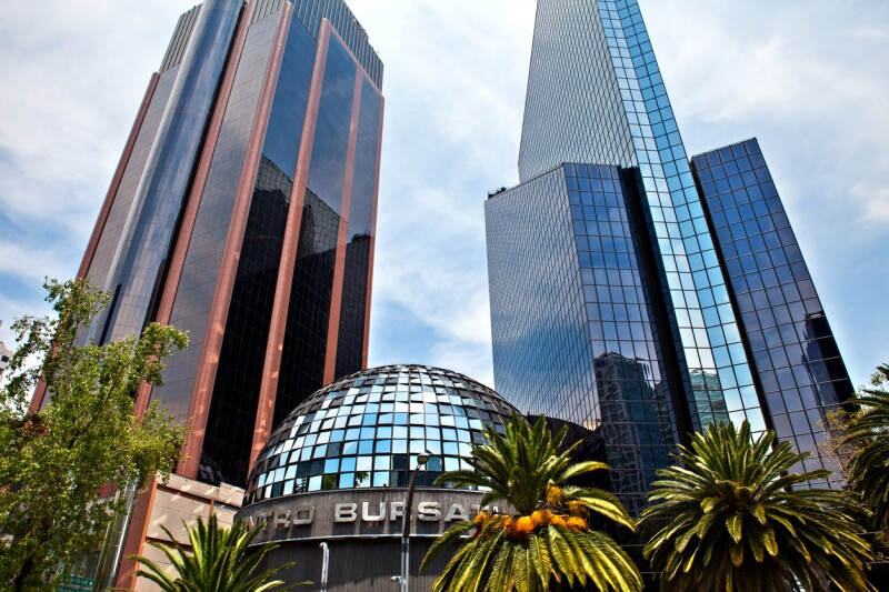 Mexican Stock Exchange building in Mexico city, Mexico.