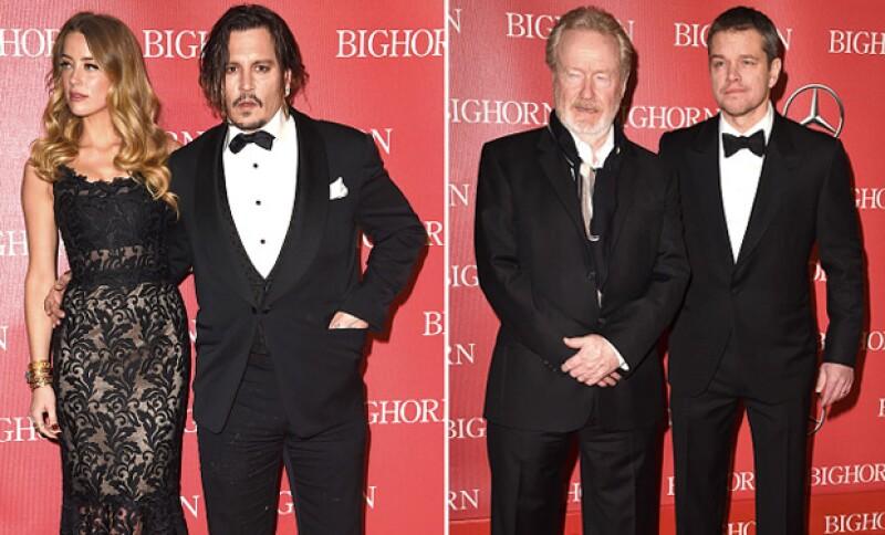 Johnny acompañado de su esposa y Matt del cineasta.
