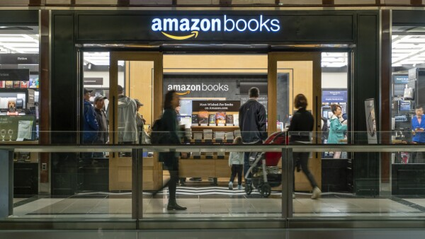 People visiting the Amazon Books store