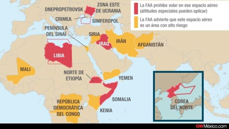 aerolineas mapa zonas de conflicto