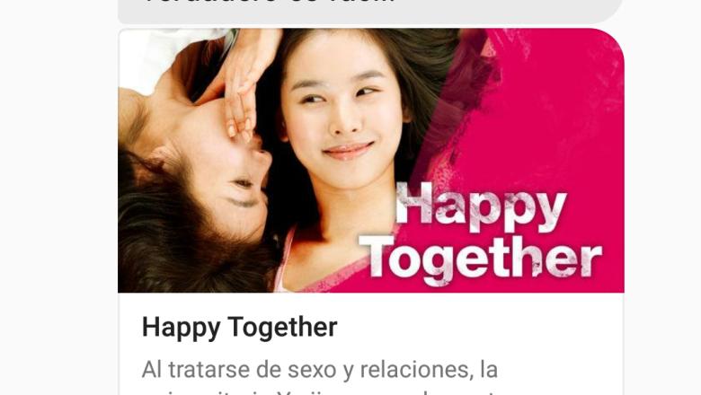 Al mostrarle un emoji de pareja, nos recomienda esta chickflick