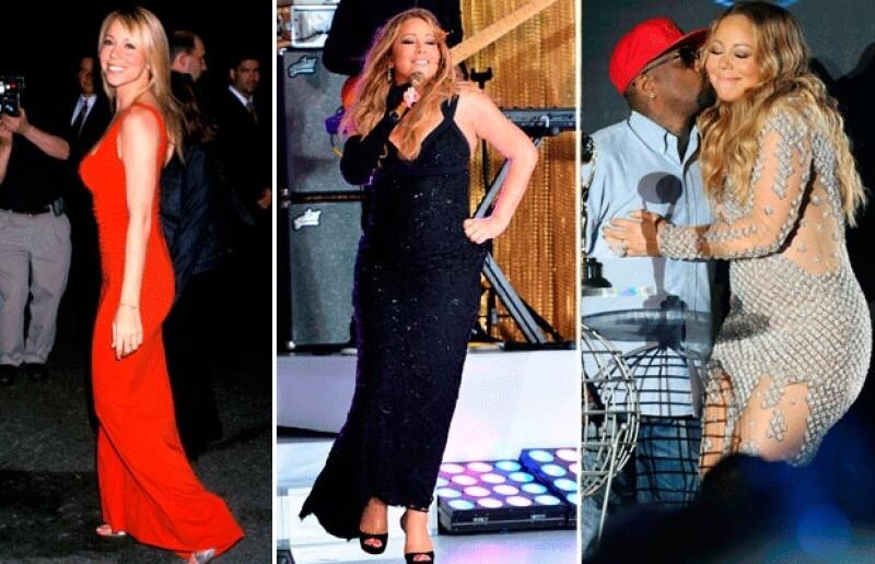 Mariah Carey no ha recuperado su figura tras tener a sus gemelos en 2011. La imagen de la izquierda fue tomada en el año 2000 y las de la derecha corresponden a este año.