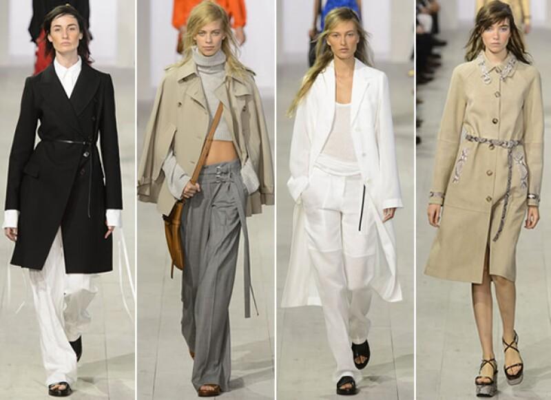 Los trenchcoats, pantalones wide lenght y camisas de vestir, formaron un look masculino en la colección.