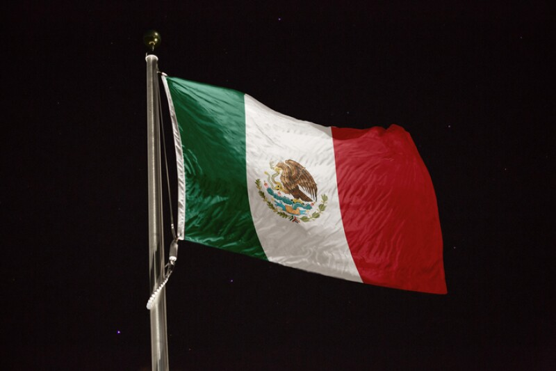 Mexico flag blowing in the wind at night