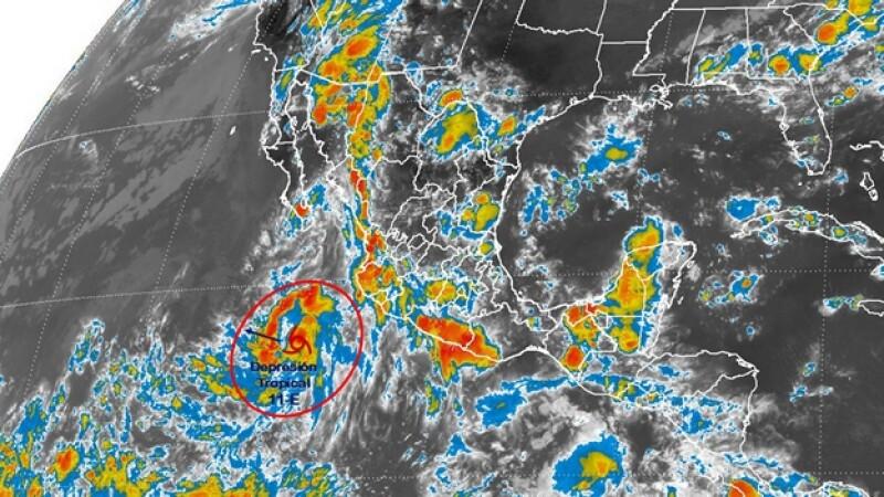 La depresión tropical 11-E que se formó este martes en el Océano Pacífico