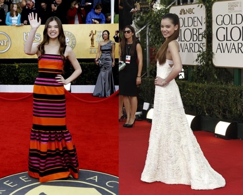 Su estilo es perfecto para su edad: aquí en los Screen Actors Guild (izq.) vestida de Prada, y en los Golden Globes (der.), usando un vestido de Prabal Gurung.