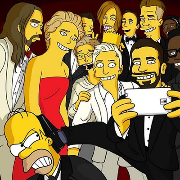 Inspirada en la fotografía de los Oscar, Matt Groening, creador de The Simpsons, realizó su propia versión, incluyendo a Homero, quien es desplazado por Cooper.