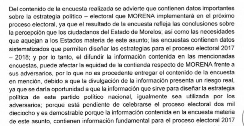 Morena alegó que sus contrincantes podrían copiar sus propuestas si se da a conocer la encuesta que da el triunfo a Cuauhtémoc Blanco.