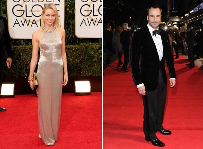 Naomi Watts con el Tom Ford que usó la noche de los Golden Globe 2014. Derecha: Tom Ford.