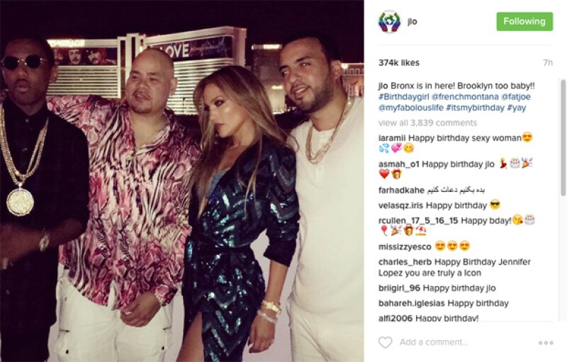 J.Lo publicó sólo esta foto de su festejo de cumpleaños en Las Vegas.