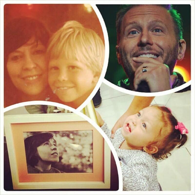 Fans regalaron a Noel Schajris un collage con fotos de su mamá y su hijita Emma.