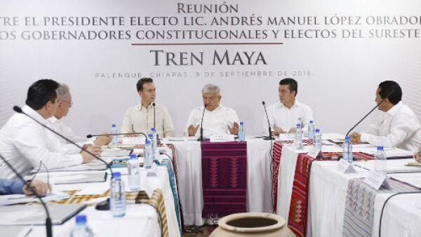 Reuni�n de AMLO con gobernadores sobre el Tren Maya