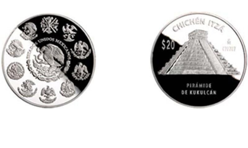 La moneda Pirámide de Kukulcán de cinco onzas de plata. (Foto: Cortesía de Banxico)