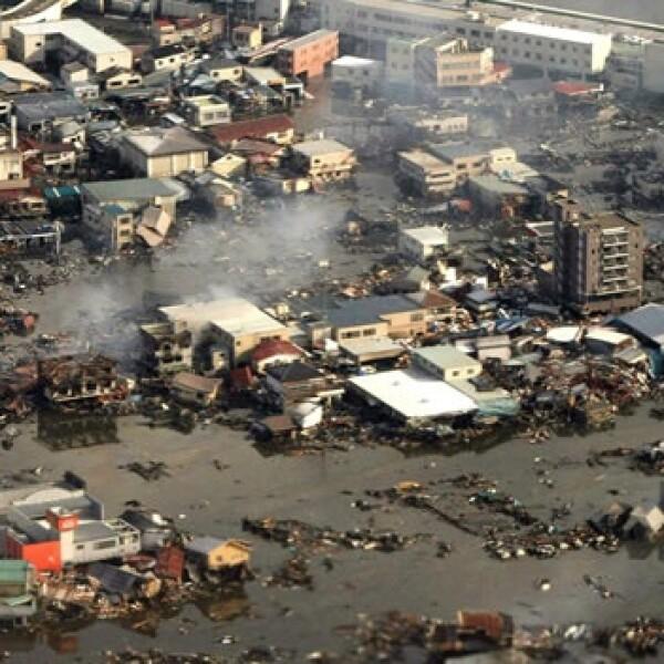 La vista aérea revela la devastación en Japón
